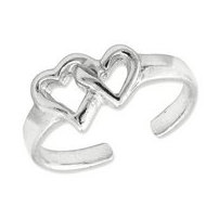 Sterling Silver Solid Double Heart Toe Ring