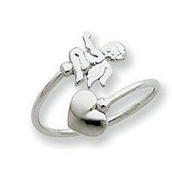 14k White Gold Cupid Toe Ring