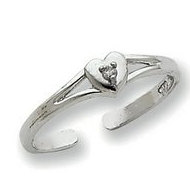 14k White Gold  01ct Diamond Heart Toe Ring