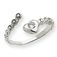 14k White Gold CZ Heart Toe Ring
