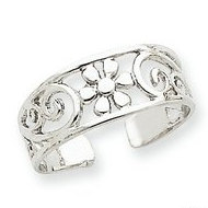 14k White Gold Floral Toe Ring