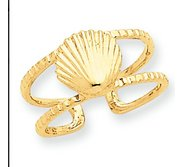 14k Yellow Gold Sea Shell Toe Ring