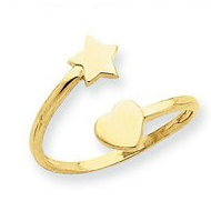 14k Yellow Gold Star   Heart Toe Ring