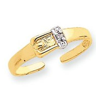 14k Yellow Gold Buckle With  01 Ct Diamond Toe Ring