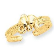 14k Yellow Gold Elephant Toe Ring