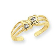 14k Yellow Gold Heart With  02 Ct Diamond Toe Ring