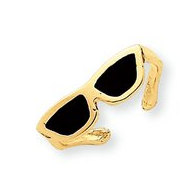 14k Yellow Gold Enamled Glasses Toe Ring