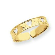 14k Yellow Gold Heart Cutout Toe Ring