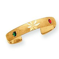 14k Yellow Gold Enamled Toe Ring