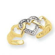 14k Yellow Gold Rhodium Heart Toe Ring