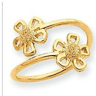 14k Yellow Gold Flower Toe Ring