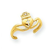 14k Yellow Gold Claddagh With  01 Ct Diamond Toe Ring