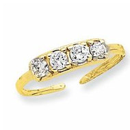 14k Yellow Gold CZ Toe Ring