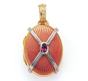 Victor Mayer 18K Gold Diamond Locket With Garnet