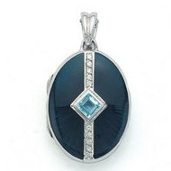 Victor Mayer 18K Gold Diamond Locket With Aquamarine