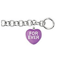Sweethearts Enamel  Forever  Heart Charm on 7 5  Bracelet