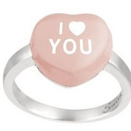Sweethearts Enamel  I Heart You  Heart Shaped Sterling Silver Ring