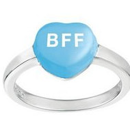 Sweethearts Enamel  BFF  Heart Shaped Sterling Silver Ring