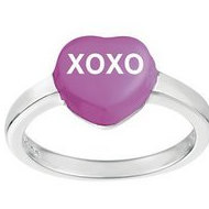 Sweethearts Enamel  XOXO  Heart Shaped Sterling Silver Ring