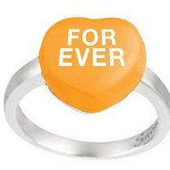 Sweethearts Enamel  Forever  Heart Shaped Sterling Silver Ring