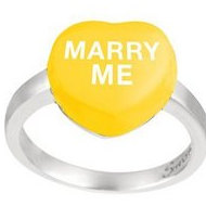 Sweethearts Enamel  Marry Me  Heart Shaped Sterling Silver Ring