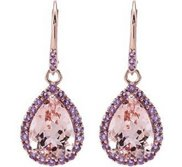 Genuine Morganite   Amethyst Lever Back Earrings