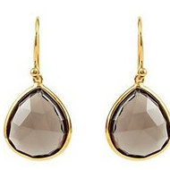 Smoky Quartz Earrings with 14k Yellow Gold Plating