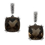 Genuine Checkerboard Smoky Quartz   Diamond Earrings