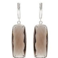 Genuine Smoky Quartz Lever Back Earrings