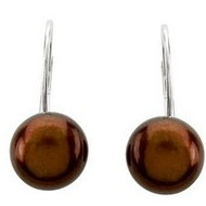 Freshwater Chocolate Pearl Lever Back Earrings