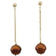 Freshwater Dyed Chocolate Cultured Circl Pearl Earrings