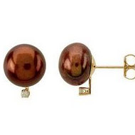 Freshwater Chocolate Pearl   Diamond Earrings