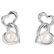 Freshwater Cultured Pearl Double Heart Dangle Earrings
