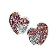 Genuine Pink Sapphire   Diamond Heart Earrings