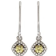 Halo Style Yellow and White Sapphire Dangle Earrings