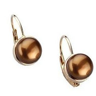 Freshwater Dyed Chocolate Cultured Pearl Lever Back Earrings