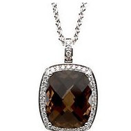 Genuine Smoky Checkerboard Quartz and Diamond Necklace