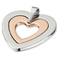 Amalfi  Stainless Steel Heart Pendant with Polished Immersion Plate