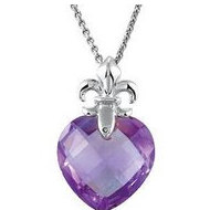 Genuine Amethyst Heart with Fleur de lis Design Pendant