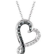 Swirl Black and White Diamond Heart
