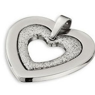 Amalfi  Stainless Steel Glitter Heart Pendant with Immersion Plate