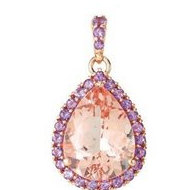 Genuine Morganite and Amethyst Pendant