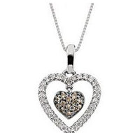 Brown and White Diamond Double Floating Heart Necklace