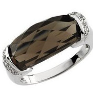Genuine Smoky Quartz and Diamond Ring