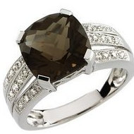 Genuine Smoky Quartz and Diamond Split Shank Ring
