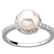Halo Style Freshwater Pearl and Diamond Ring