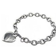 Stainless Steel Rolo Heart Bracelet