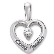 14K Personalized Couple s Heart Pendant w   07ct Diamond