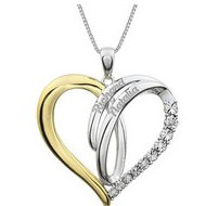 Two Tone Sterling Silver Heart Pendant w   03ct Diamonds