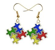 Autism Awareness Color Enameled Puzzle Piece Earrings